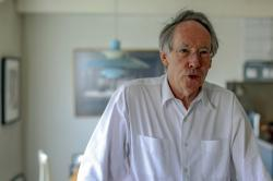 "In this photo taken on Thursday, April 18, 2019, Booker Prize award winning English novelist and screenwriter Ian Russell McEwan talks to Associated Press about his new novel ""Machines Like Me"" in London"