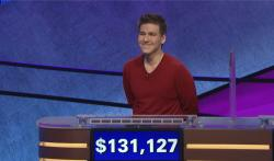 "James Holzhauer on an episode of ""Jeopardy!"""