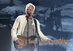 This Jan. 28, 2018 file photo shows Sting performing at the 60th annual Grammy Awards in New York