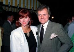 "Actress Victoria Principal, left, and actor Ken Kercheval, co-stars of the popular TV-show ""Dallas,"" in 1986."