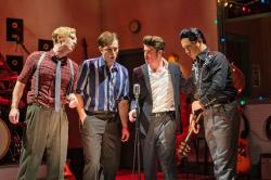 "James Scheider, Nile Scott Hawver, Luke Linsteadt and Austin Wayne Price in ""Million Dollar Quartet"" at the Greater Boston Stage Company through May 18."