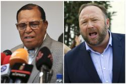 Minister Louis Farrakhan, the leader of the Nation of Islam, in Tehran, Iran, left, and Alex Jones, right.