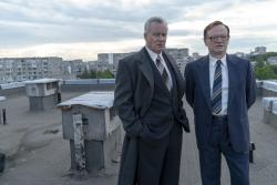 "Stellan Skarsgard, left and Jared Harris, right in ""Chernobyl."""