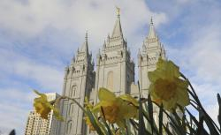 The Salt Lake City temple is shown during The Church of Jesus Christ of Latter-day Saints' two-day conference, in Salt Lake City.