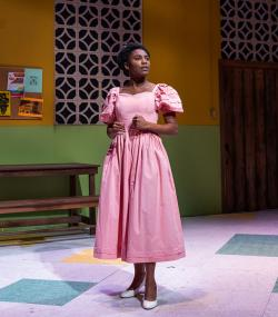 """Ireon Roach in the SpeakEasy Stage production of """"School Girls; or the African Mean Girls Play"""""""