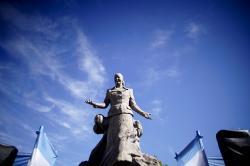 A statue of Eva Person stands in Los Toldos, Argentina.