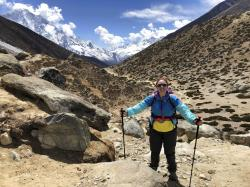 Molly mid-climb on day 5 of her 8-day trek to Mt. Everest Base Camp.