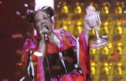 Netta from Israel celebrates after winning the Eurovision song contest in Lisbon, Portugal, during the Eurovision Song Contest grand final.