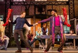 "Connor Allston and Kenneth Mosley in ""Kinky Boots,"" at the Emerson Colonial Theatre through May 12."