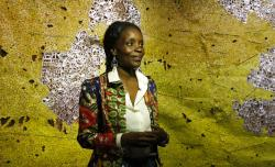 Ghana pavilion curator Nana Oforiatta Ayim smiles during the 58th Biennale of Arts exhibition in Venice, Italy.