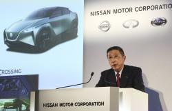 Nissan Motor Co. Chief Executive Hiroto Saikawa speaks during a press conference at its Global Headquarters in Yokohama, near Tokyo Tuesday, May 14, 2019