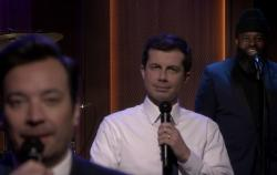 "Jimmy Fallon, left, Mayor Pete Buttigieg, center, on ""The Tonight Show."""