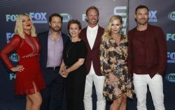 "ori Spelling, from left, Jason Priestley, Gabrielle Carteris, Ian Ziering, Jennie Garth and Brian Austin Green, from the cast of ""BH90210,"" attend the FOX 2019 Upfront party at Wollman Rink in Central Park."