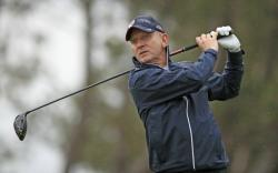 In this Aug. 5, 2019 file photo, Jeremy Kyle watches his shot during the Pro-Am at the British Masters at Hillside Golf Club, Southport, England