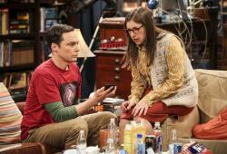 """Jim Parsons, left, and Mayim Bialik in a scene from the series finale of """"The Big Bang Theory."""""""