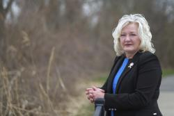 In this April 16, 2019, photo, State Rep. Lisa Sobecki, D-Toledo, poses for a photo at Bay View Park in Toledo, Ohio.