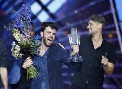 Duncan Laurence of the Netherlands celebrates after winning the 2019 Eurovision Song Contest grand final in Tel Aviv, Israel, Saturday, May 18, 2019. (AP Photo/Sebastian Scheiner)