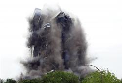 Martin Tower, former world headquarters of Bethlehem Steel, implodes Sunday May 19, 2019 in Bethlehem, Pa.