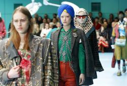 A model wears a creation part of Gucci women's Fall/Winter 2018-2019 collection.