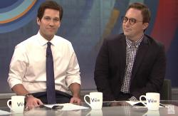 "Paul Rudd, left, and Beck Bennett, right, appear on ""Saturday Night Live."""