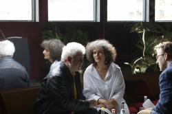 Intepreter Massoumeh Lahidji, centre, translates an interview with director Pedro Almodovar, left, and Associated Press film writer Jake Coyle, right at the 72nd international film festival, Cannes.