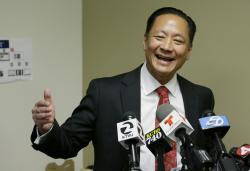In this April 26, 2016, file photo, San Francisco Public Defender Jeff Adachi gestures during a news conference in San Francisco