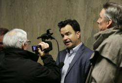 David Snyder, First Amendment Coalition Executive Director, answers questions outside a courtroom Tuesday, May 21, 2019, in San Francisco