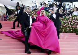 "Lady Gaga, right, and designer Brandon Maxwell at The Metropolitan Museum of Art's Costume Institute benefit gala celebrating the opening of the ""Camp: Notes on Fashion"" exhibition in New York."