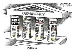 "This image provided by Jimmy Margulies shows ""Pillars,"" by King Features editorial cartoonist Jimmy Margulies, that is one of dozens of political cartoons focusing on the First Amendment in a new exhibit, ""Front Line: Editorial Cartoonists and the First Amendment"" at Ohio State University's Billy Ireland Cartoon Library & Museum in Columbus, Ohio"