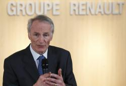 This Jan.24, 2019 file photo shows Jean-Dominique Senard after being appointed Renault chairman following a meeting of the board held at Renault headquarters in Boulogne-Billancourt, outside Paris
