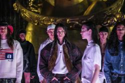 Models walk the runway during the Alexander Wang fashion show, Friday, May 31, 2019, in New York. (AP Photo/Jeenah Moon)