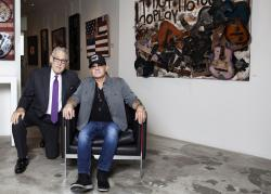Bernie Taupin poses for a portrait with Michael Schwartz at Galerie Michael in Beverly Hills, Calif.