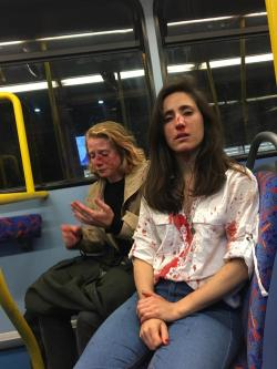 Melania Geymonat and her partner Chris were bloodied after the homophobic attack on London transport