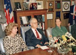 In this March 26, 1988 file photo, prosecutor Linda Fairstein, left, is shown during a news conference in New York