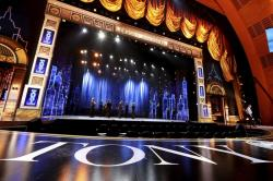 This June 10, 2019, file photo shows a view of the stage at the 72nd annual Tony Awards at Radio City Music Hall in New York