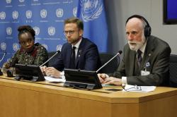 Nanjira Sambuli, left, Senior Policy Manger, World Wide Web Foundation; Nikolai Astrup, Minister of Digitalization of Norway, center; and Vinton Cerf, vice president and Chief Internet Evangelist for Google, participate in a news conference at United Nations headquarters, Monday, June 10, 2019