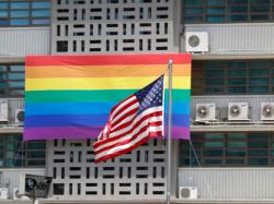 A rainbow flag hangs on the U.S. Embassy in Seoul on May 20, 2019