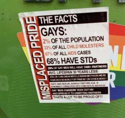 Sticker Filled with Anti-Gay Lies Plastered Over Pride Message