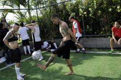 Caua Fraga kicks the ball during a practice session with the Bigtboys transgender men's soccer team in Rio de Janeiro, Brazil.