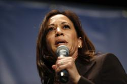 Democratic presidential candidate Kamala Harris speaks during the Iowa Democratic Party's Hall of Fame Celebration, Sunday, June 9, 2019, in Cedar Rapids, Iowa