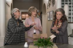 """Writer/producer Marta Kauffman, from left, Jane Fonda, and Lily Tomlin in a scene from """"Grace and Frankie."""""""