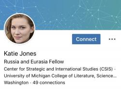 This image captured on Tuesday, June 11, 2019 shows part of a LinkedIn profile for someone who identified themselves as Katie Jones