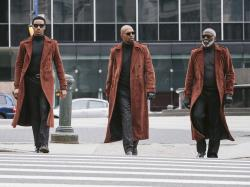"This image released by Warner Bros. Pictures shows from left, Jessie Usher, Samuel Jackson and Richard Roundtree in a scene from ""Shaft."""