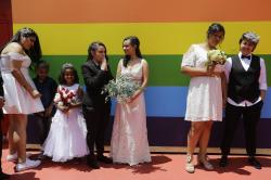 Same sex couples wait to get married prior to a group marriage of forty same-sex couples in Sao Paulo, Brazil.
