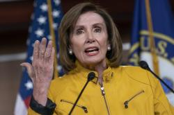 Speaker of the House Nancy Pelosi, D-Calif., reflects on President Donald Trump's statement that he would accept assistance from a foreign power, saying it's so against any sense of decency, during a news conference on Capitol Hill in Washington, Thursday, June 13, 2019