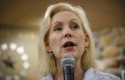 In this May 25, 2019 file photo, Democratic presidential candidate Sen. Kirsten Gillibrand speaks to local residents at a coffee shop in Mason City, Iowa