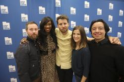 "In this May 3, 2019, photo, from left to right, Aaron Ruell (Kip), Shondrella Avery (LaFawnduh), Jon Heder (Napoleon Dynamite), Emily Dunn (Trisha) and Efren Ramirez (Pedro) pose during a photo-op as they celebrate the 15th anniversary of the cult classic comedy ""Napoleon Dynamite,"" in Salt Lake City"