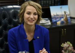 Oklahoma state Sen. Carri Hicks, D-Oklahoma City, listens to a question during an interview in her office Wednesday, May 8, 2019, in Oklahoma City