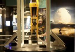 In this Monday, June 10, 2019 photo, a visitor tours the National Atomic Testing Museum in Las Vegas