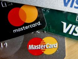 A logo for Mastercard on credit cards in Zelienople, Pa.